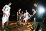 Senior Tyler Kimm is introduced under the spotlight during starting lineups.