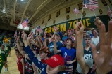 The Kilt Krew waves American flags for the theme at the game against Madison.
