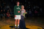 Juniors Luke Gohmann and Kate Sparrow smile for photos at center court.