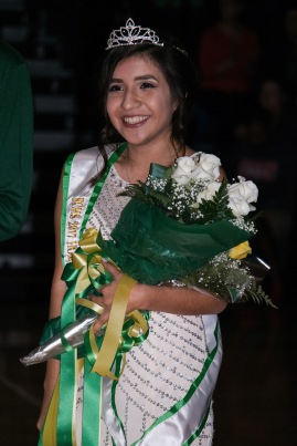 Senior Samanta Garcia smiles for pictures after being crowned homecoming queen.