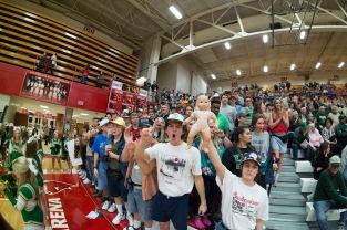 The Kilt Krew led by senior Reed Plunkett brings the hype to the FC-Jeffersonville basketball game. Photo by Nik Vellinger.