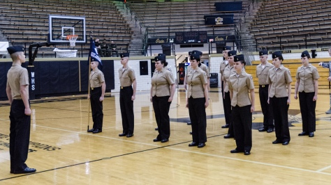 NJROTC Unarmed Infantry Dill Regulation team performs at the annual Washington High School Drill meet on Feb 4. in which the FCNJROTC Drill Team won 1st place overall. Photo by Robert Wormley