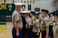 FC NJROTC Cadet Junior Jennifer Allen is inspected by Navy JROTC Area 3 Manager Commander Joe Hankins (USN, Ret.) for the Annual Military Inspection (AMI) on Feb. 12. Photo by Robert Wormley