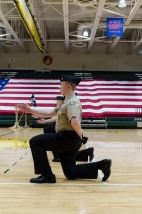 Junior Colton Nash at the front of a dueling rank as part of the FC Unarmed Exhibition Drill Team's routine. Photo by Robert Wormley.