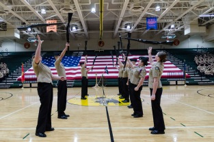 FC Armed Exhibition Drill Team performs at AMI practice prior to the AMI ceremony. Photo by Robert Wormley.