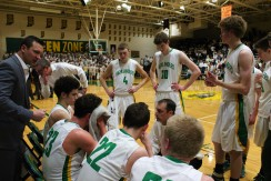 The Highlanders go over the game plan during a timeout. Photo by Kaitlyn Erdman.