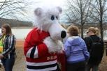 The Polar Plunge mascot greets people at Deam Lake on Feb. 18. Photo by Miranda Legg.