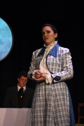 Junior Allie Lincoln gazes to the crowd in despair after a lost child. Throughout the play, her character seems the most affected by death and tragedy.