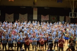 Students learn the first part of the morale dance at FCDM. Photo by Braden Schroeder.
