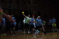 Senior Adam Rutledge and Landon Campbell battle the freshmen and junior team in a dodgeball tournament. Photo by Robert Wormley.