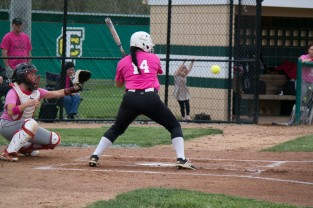 Senior Jenna Endris leans back to avoid being hit by the ball.