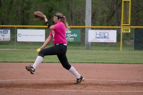 Sophomore Lexie Heeke winds up her pitch against the Madison Cubs last week. The Highlanders beat the Cubs 10-0.