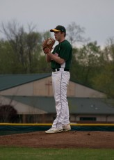 Senior Chase Stepp reads the signs from his catcher.
