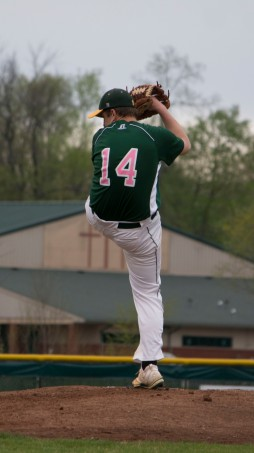 Senior Chase Stepp winds up to throw a pitch.