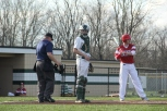 Senior Jon Cato looks to the dugout.