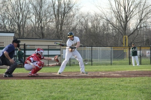 Senior Trevor Clark swings at a pitch.