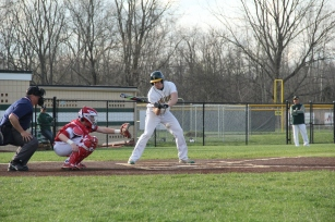Senior Trevor Clark swings at a pitch.