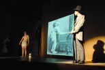 "Junior Jordan Burger (Dr. Treeves) explains the conditions of sophomore Noah Hankins' character the ""Elephant Man."""