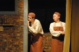 "Junior Joey Bowling (Porter) and freshman Nick Landrum (Snork) spy into the room of the ""Elephant Man."""