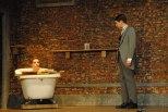 Junior Jordan Burger (Dr. Treeves) talks to sophomore Noah Hankins (John Merrick) as he takes a bath.