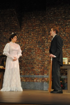 Sophomore Noah Hankins (John Merrick) talks to sophomore Mikayluh Bowers (Princess Alexandra) as he meets her for the first time.