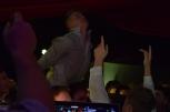 Senior Chandler Stumler jumps on the dancefloor. Photo by Kiley Swain.