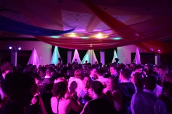 Students dance under the lights at the Bollywood themed 2017 prom. Photo by Kiley Swain.