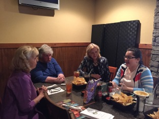 On Tuesday, April 25 senior Sofia Franco, Interact Club advisor Pamela Poe, Rotary Club member Susan Adams, and recent Rotary Club Janie Whaley socialize with one another before the meeting starts.