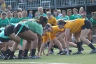 Seniors and juniors get in their positions to begin the game. Photo by Taylor Watt.