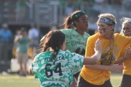 Junior Samantha Cato and senior Aubrey Fonseca face off on the field. Photo by Taylor Watt.
