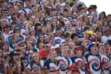 The America- clad Floyd Central student section gets rowdy during the game, as the Providence game is one of the biggest of the year. Photo by Tori Roberts.