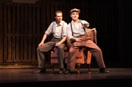 "Seniors Jordan Burger and Mitchell Lewis portray brothers in the Floyd Central Production of ""Bonnie and Clyde"". ""Buck is a real person so you have to struggle with the accuracy of the character rather than interpreting for yourself,"" says Burger. Photo by Phoebe Bierman."