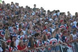 The student section dresses in red, white, and blue for the theme of the game. Photo by Taylor Watt.