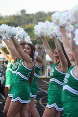 Senior Abby Burch leads the dazzlers in a cheer. Photo by Taylor Watt.