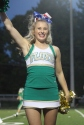 Junior Taylor Sattler cheers on the crowd in the fourth quarter of the game. Photo by Taylor Watt.