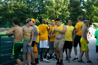 A group of junior boys get ready to cheer on their team. Photo by Shelby Pennington.