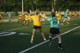 Junior Samantha Cato and senior Alyssa Crowl reach for the ball. Photo by Shelby Pennington.