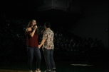 "Freshman Caroline Siegrist and senior Mitchell Lewis sing ""Something to Believe In"" from the upcoming show ""Newsies."""