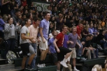 A group of senior boys show their school spirit.