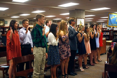 The fall inductees pledge to uphold the standards of a NHS member.
