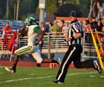 Junior John Gunn runs down the field for yet another touchdown. Floyd Central had an amazing start to the game against Jeffersonville on Sept. 15. Photo by Tori Roberts.