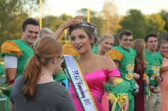 """Senior Delaney Mazza is crowned the 2017 football Homecoming Queen. """"I was super happy and wasn't expecting it at all to win,"""" said Mazza. Photo by Taylor Watt."""