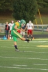Sophomore Cole Hussung punts the ball to the offensive lineman to begin the game. Photo by Taylor Watt.