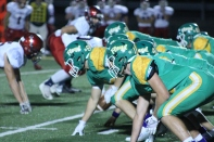 Junior Bison Pertle gets in position ready for the next defensive play in the last minutes of the third quarter. Photo by Taylor Watt.