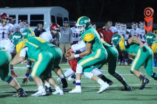 Senior Matthew Weimer receives the ball from senior Ryan Ater in the offensive play. Photo by Taylor Watt.