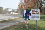 Slate Run's walking trail sign can be seen next to the construction site of their new site. The children which would normally attend the school have been going to Graceland church, and will be until the end of construction. Photo by Tori Roberts.