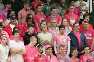 FC Boys Basketball had a 'pink out' game against Corydon High School. The Kilt Krew covers the Green Zone in pink for the evening. Photo by Taylor Watt.