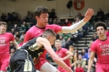 Senior Luke Gohmann blocks against junior Bradley Nalley on a dribble. Photo by Taylor Watt.