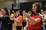 Junior Ashlyn Waterbury learns the second part of the Morale Dance that the students will all perform together at the end of the night.