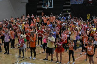 Students participate in Zumba in one of the break out sessions of FCDM.